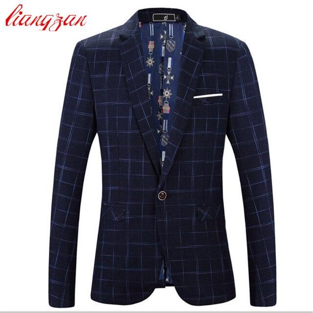 Men Plaid Blazer Suit Jacket Brand Casual Business Suit Blazer Male Plus Size 5XL 6XL Cotton Wedding Masculino Costume F2322