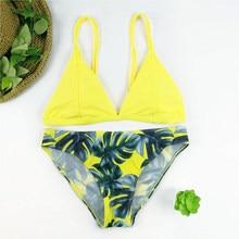 Sexy Micro Bikini Set Delle Donne del Foglio di Stampa Costumi Da Bagno  Push Up Costume Da Bagno Brasiliano Bikini Pad Biquini G.. 070b1038c8d