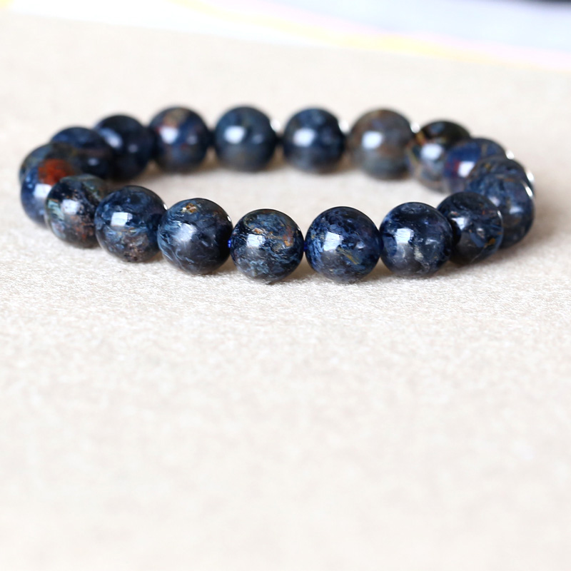 High Quality Genuine Natural Gold Blue Pietersite Namibia Stretch Men's Bracelet Round Beads 10mm 05031 недорого
