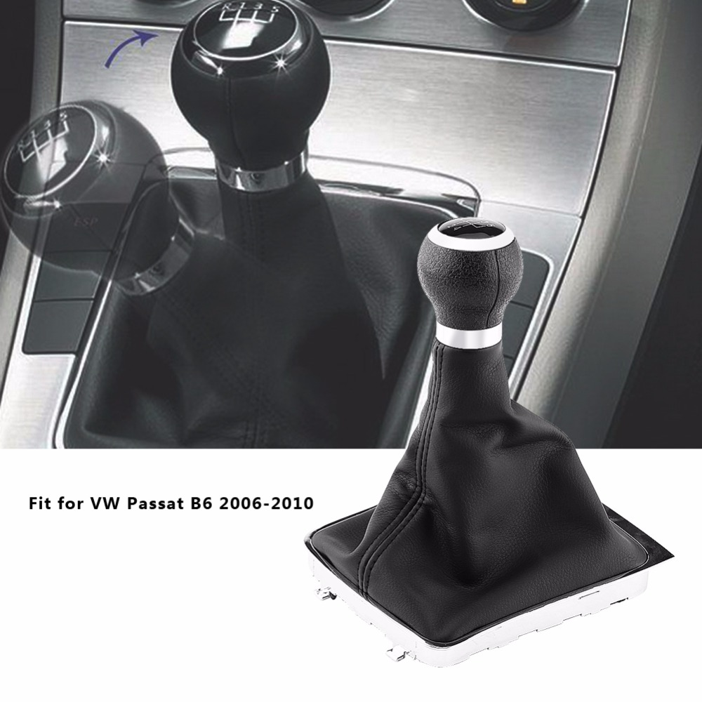 5 Speed Car Gear Shift Knob Gearstick Gaiter Boot Frame Kit For VW Passat B6 2006-2010 Black Leather Car Accessories