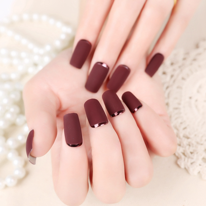 24pcs Set Coffee Matte Acrylic Nails Medium Design Full Cover Frosted Fake Nail Faux Ongles Z112 In False From Beauty Health On Aliexpress