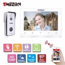 Security Protection - Intercom - Tmezon IP Video Door Phone Intercom System 10 Inch Wireless/Wired WIFI/RJ45 Indoor Touch Monitor HD 720P Outdoor Doorbell Camera