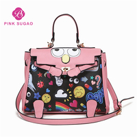 Pink sugao designer women shoulder handbag luxury fashion crossbody handbag cartoon flower printed handbags big eye leather bag