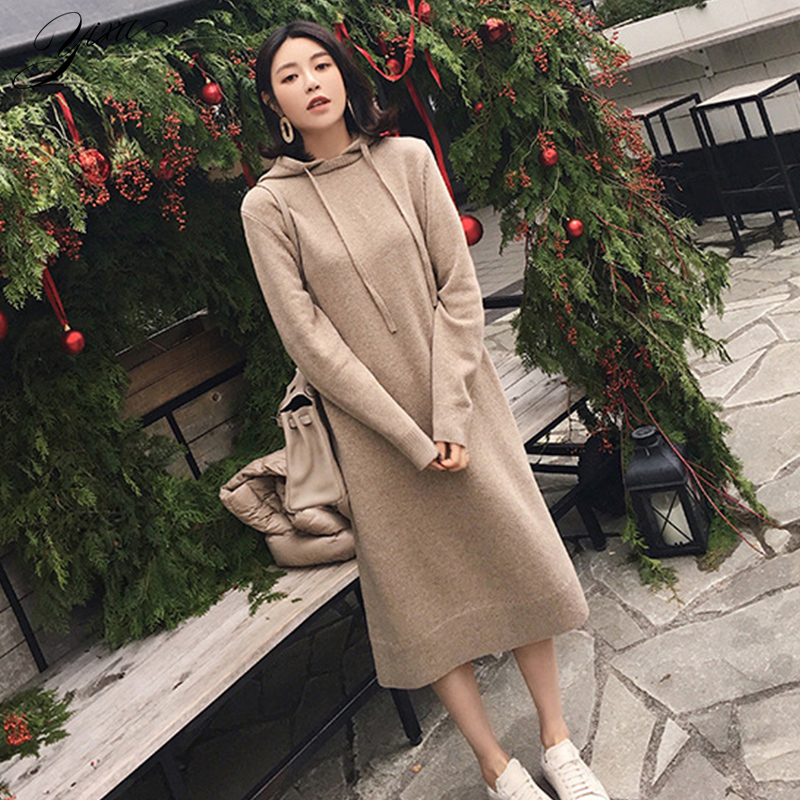 Solid Woman Winter Loose Hoody Knit Dress Full Sleeve Female Casual Mid Dresses Warm Woman Knitted Pull Dresses Autumn