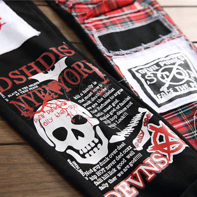 Sokotoo Men's skull printed Scottish plaid patchwork jeans Trendy patches design black ripped distressed denim long pants 4