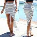 ZANZEA Summer Hot Sale Striped Split Long Women Skirt 2016 Sexy Beach Girl Elastic High Waist Maxi Saias Plus Size Skirts