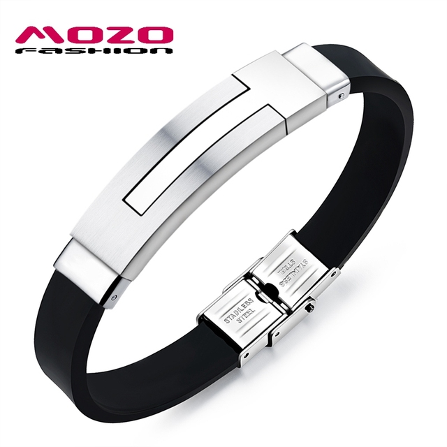 Mozo Fashion Newest Men Bracelet Geometric Shapes Stainless Steel Silicone Bracelets Rubber Wristband Trendy Mens Jewelry