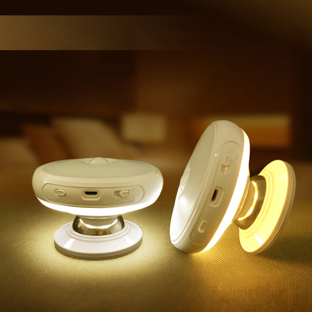 Tanbaby Motion Sensor light 360 Degree Rotating Rechargeable LED Night Light Security Wall lamp for Home Bedroom Stair Kitchen