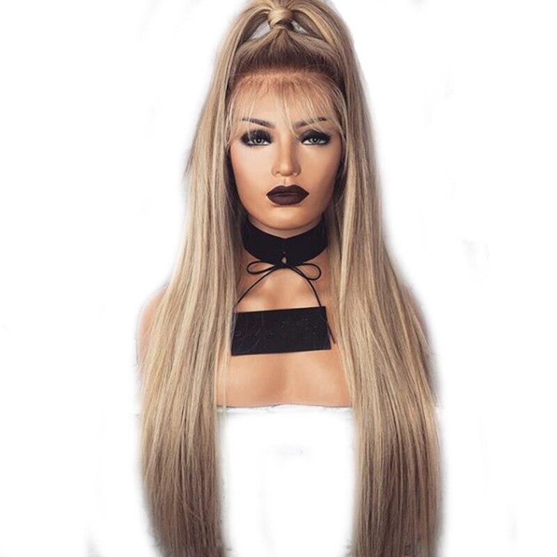 DLME Ombre коричневый блондинка синтетический Синтетические волосы на кружеве парики естественная прямая Длинная парик термостойкие волокна д...