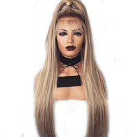 DLME Ombre Brown Blonde Synthetic Lace Front Wigs Natural Straight Long Full Hair Wig Heat Resistant Fiber for women