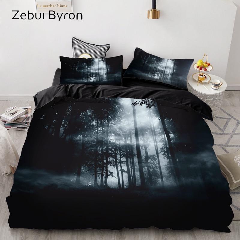 3D Print Bedding Set Custom/Europe/USA Queen/King,Duvet Cover Set,Quilt/Blanket Cover Set Halloween Black Forest,drop Ship