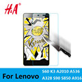 H&A 0.3mm 9H Tempered Glass for Lenovo A8 A606 A536 A916 S60 S90 S850 A2010 A6000 VIBE X2 K3 NOTE Screen Protector Film