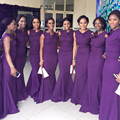 Arabic Party Dresses Purple Bridesmaid Dresses Long Chiffon Mermaid Bridesmaid Dresses Satin Wedding Party Gowns Vestido Longo