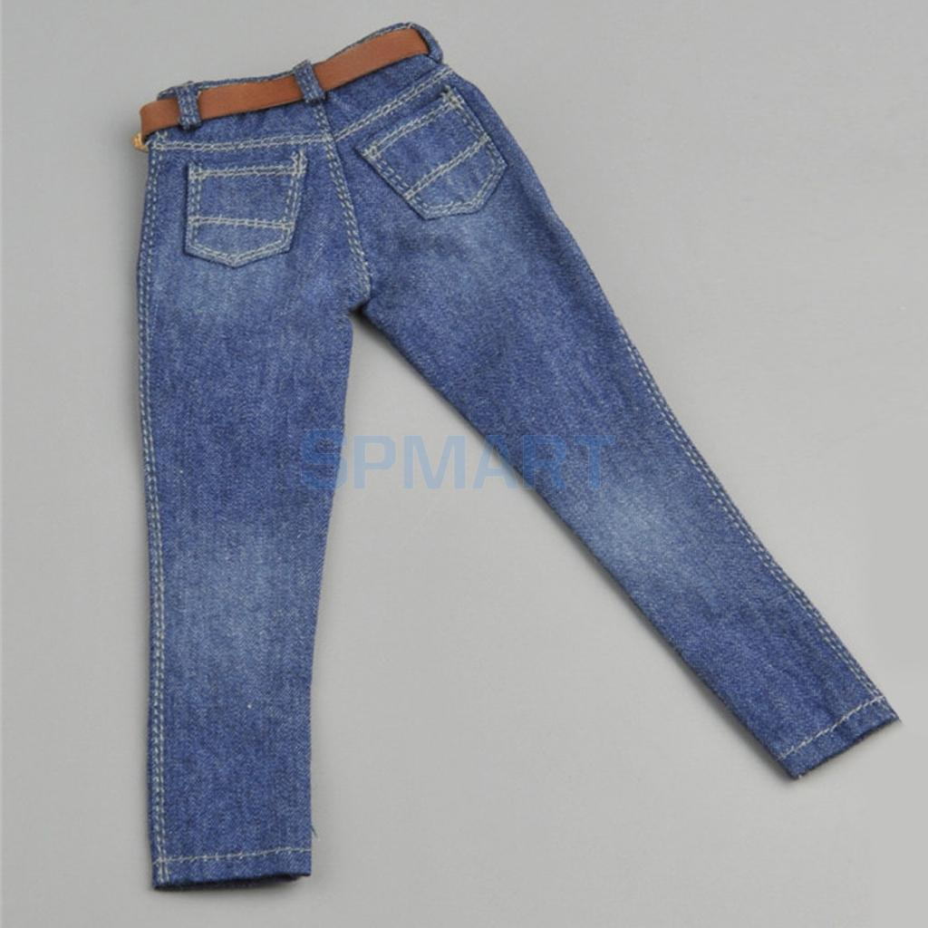 "【FREE SHIPPING】1//6 PLAID SHORT Sleeves Shirt Blue Jeans for 12/"" MALE FIGURE"