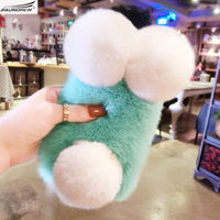 Luxury Top Rex Rabbit Fur Panda Bear Ear Tail Fur Ball Plush Furry Case For Samsung