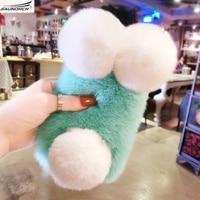 Luxury Top Rex Rabbit Fur Panda Bear Ear Tail Fur Ball Plush Furry Case For Samsung