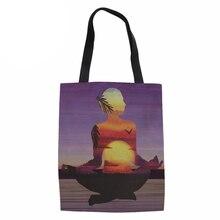 Для женщин большой Ёмкость Холст Многоразовые сумки для покупок Складная Сумка-тоут персонажа женская сумка-шоппер сумка эко Бакалея сумка