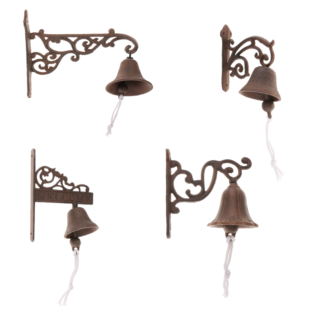 Us 12 81 44 Off Cast Iron Door Bell Metal Rustic Wall Mounted Cat Design Doorbell Outdoor Home Decorations Gift In Wind Chimes Hanging