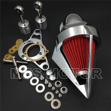 купить Chrome Cone Air Cleaner for Harley Softail Fat Boy Dyna Street Bob Wide Glide Motorcycle Accessories онлайн