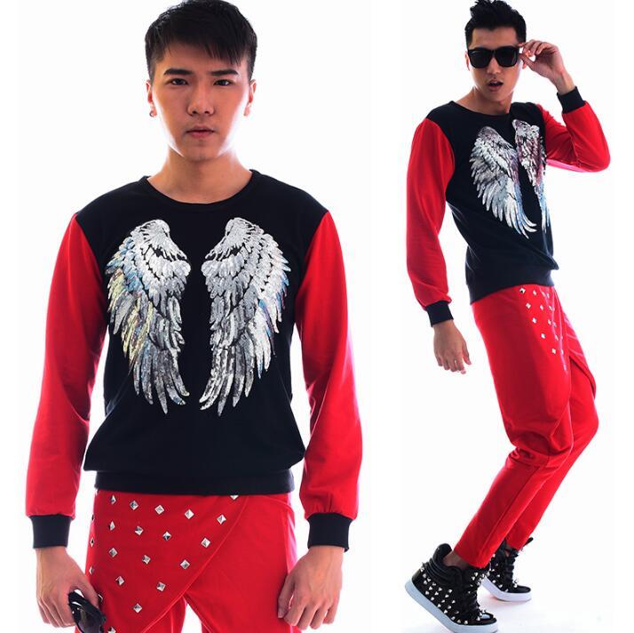 Moda de color rojo punk slim sexy lentejuelas camisa hombres pantalón manga larga Camiseta original adolescente para hombre personalidad escenario cantante baile - 3