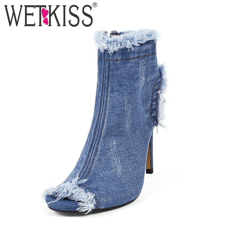 WETKISS New Denim Summer Ladies Boots Sexy Peep Toe High Heels Footwear Zipper Holed Thin Heels Women Shoes Big Size 33-40 summer bling thin heels pumps pointed toe fashion sexy high heels boots 2016 new big size 41 42 43 pumps 20161217