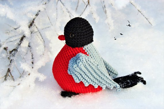 Crochet Toys  Amigurumi  Rattle   Bullfinch Mode L Number W463