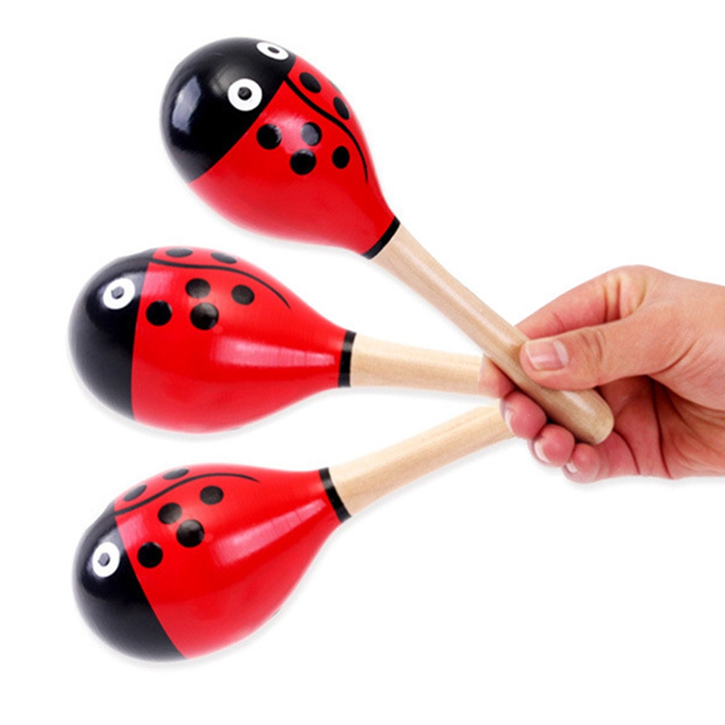 2X Colorful Wooden Maraca Baby Child Musical Instrument Rattle Shaker Party Toy