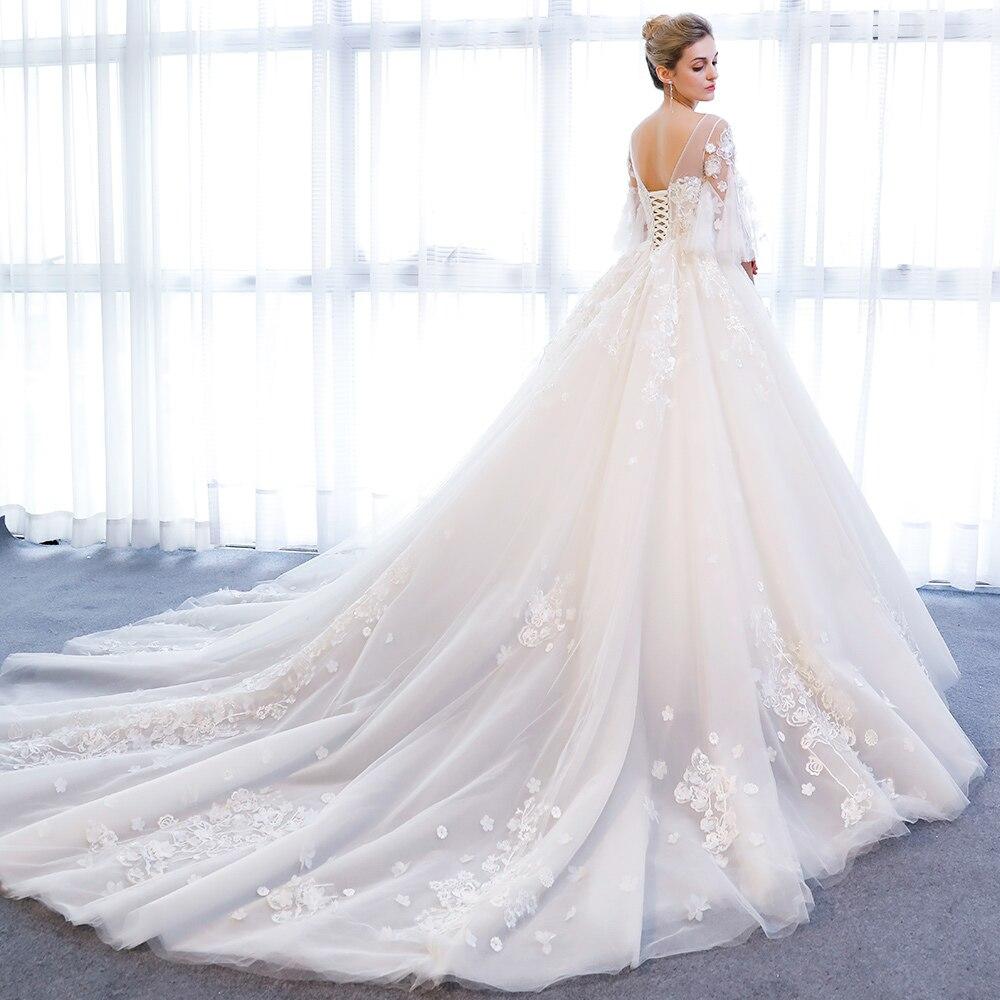 SL 801 China Half Illusion Sleeve Bridal Dresses 3D Floral Applique ...