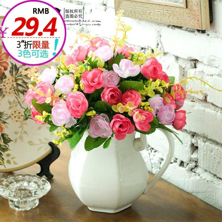 Français rustique petite édition limitée imprime 3 nicole douce petite rose artificielle fleur ensemble
