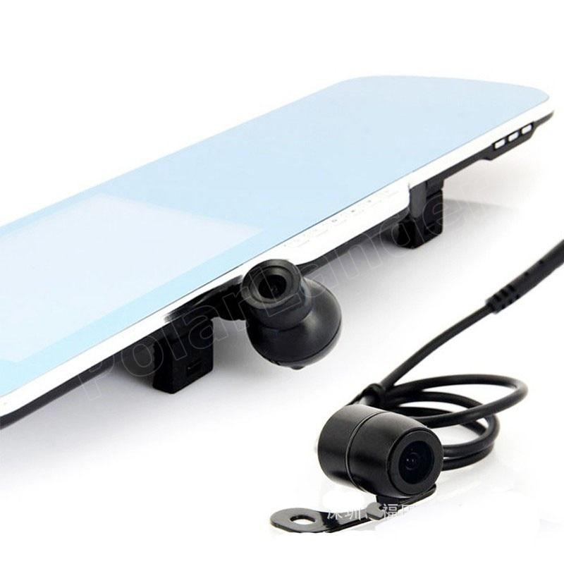 4,3 pulgadas espejo de revisión DVR de coche incluye cámara trasera de visión nocturna inversa de doble lente videocámara dash cam video grabadora de conducción - 2