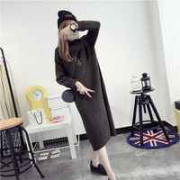 Free shipping,women turtleneck collar full sleeve long length dress sweater