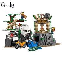 (GonLeI) 02061 새로운 도시 정글 탐사 해적 잃어버린 방주 빌딩 블록 장난감 호환 어린이를위한