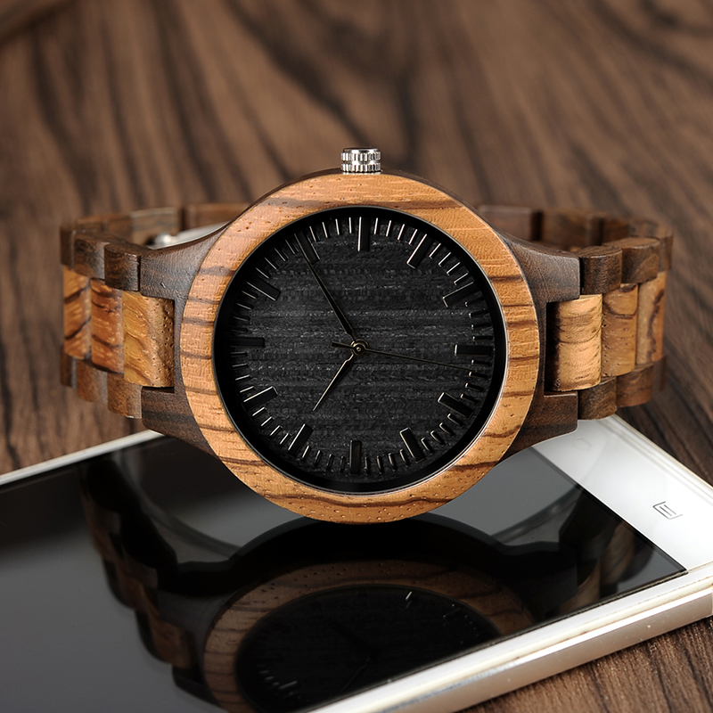 BOBO BIRD Wood Watch Meeste Walnut Ebony puidust rihma kvarts analoog - Meeste käekellad - Foto 3