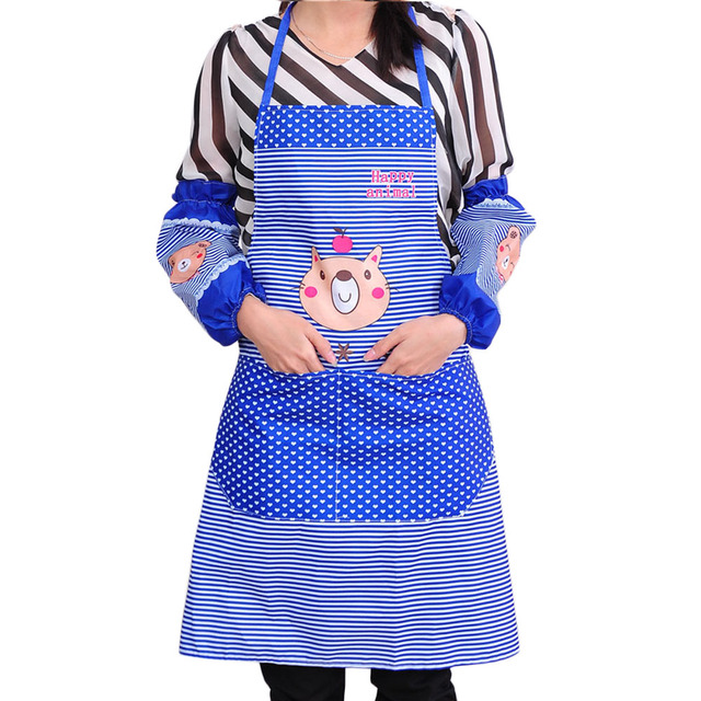 3 Color Cute Cartoon Womens Kitchen Restaurant Bib Cooking As With Pockets Lady Striped Wave A