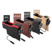 1X Car Seat Gap Crevice Storage Box Cup Drink Holder Organizer Auto Phone Charger with 12V Car Charger Phone Holder
