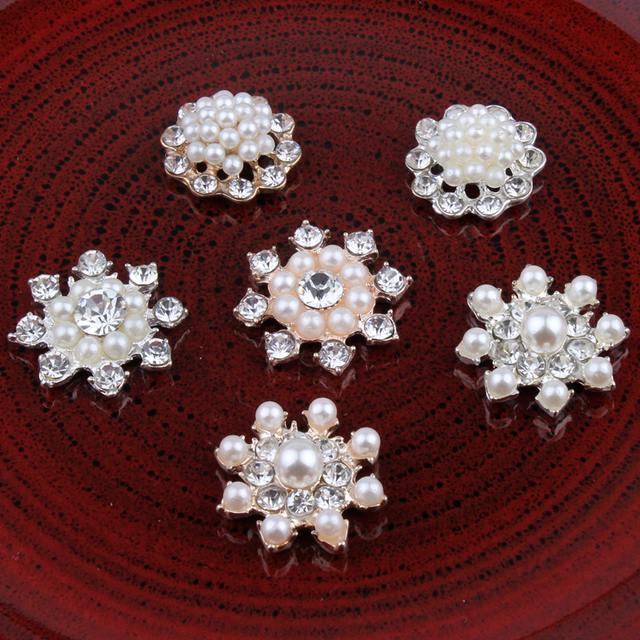 10PCS Handmade Vintage Metal Decorative Buttons Crystal Pearl Flower Center Alloy  Flatback Rhinestone Buttons Craft Supplies ed191759cffe