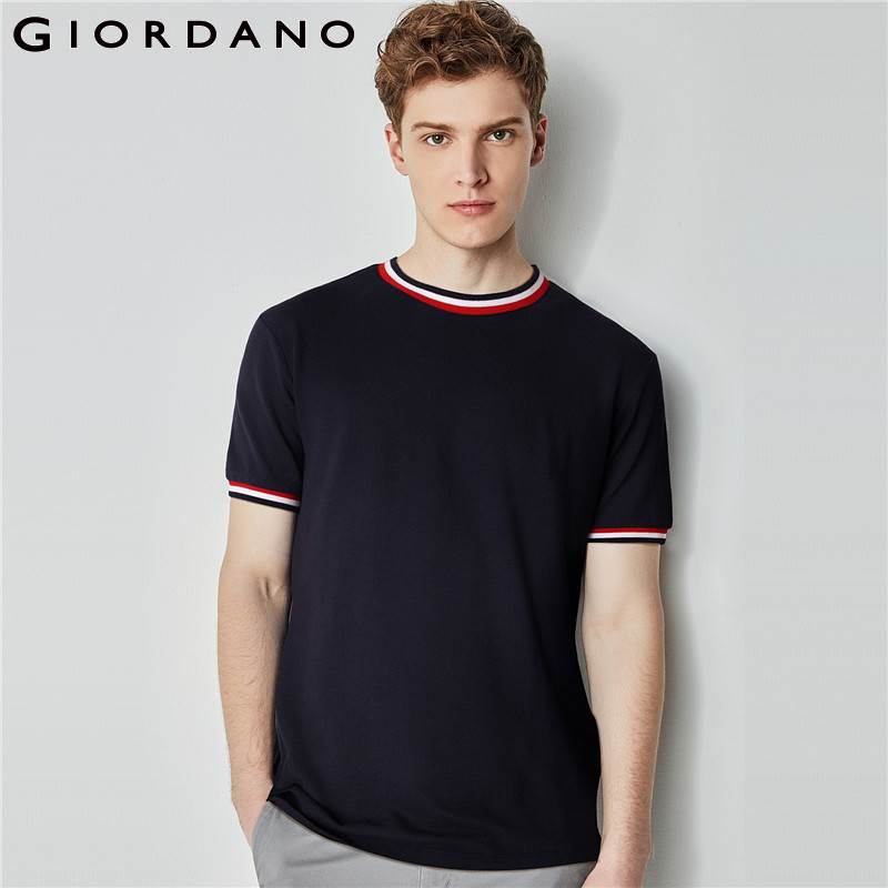 Giordano Men Tee Cotton Short Sleeves Tshirt Contrast Crewneck Tops Male Fashion Summer Outfit 2018 Series
