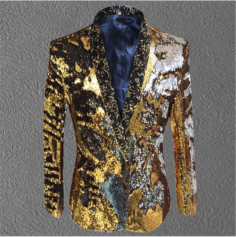 Nyt mønster mandlige sequins kostumer jakke tidevand mode vært frakke outfit slank blazer sanger danser show natklub fest scene bar