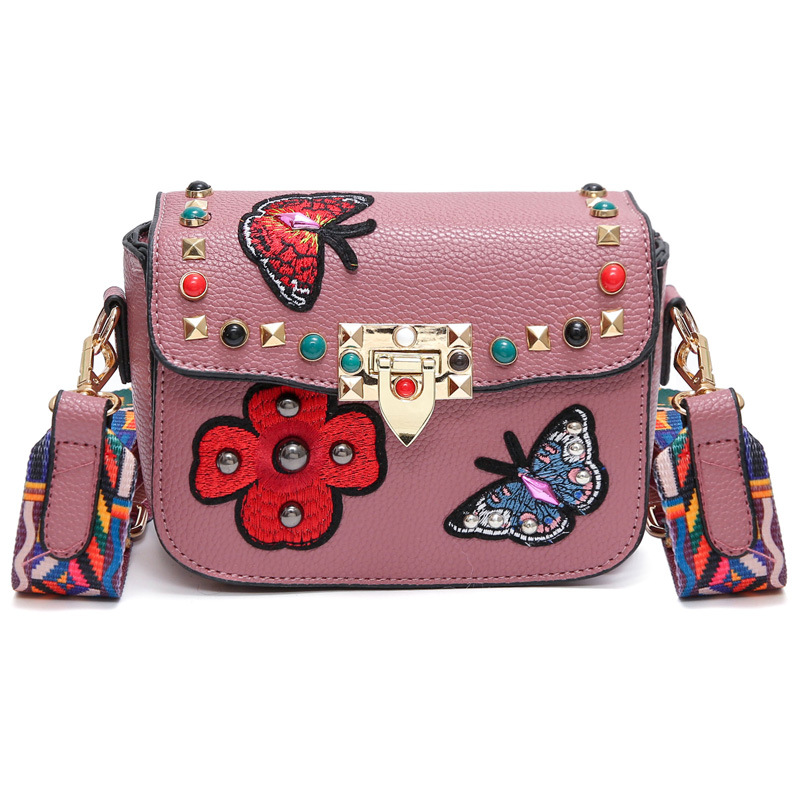 2017 Fashion Embroidery Floral Rivet New Style Women Sling Bag ...