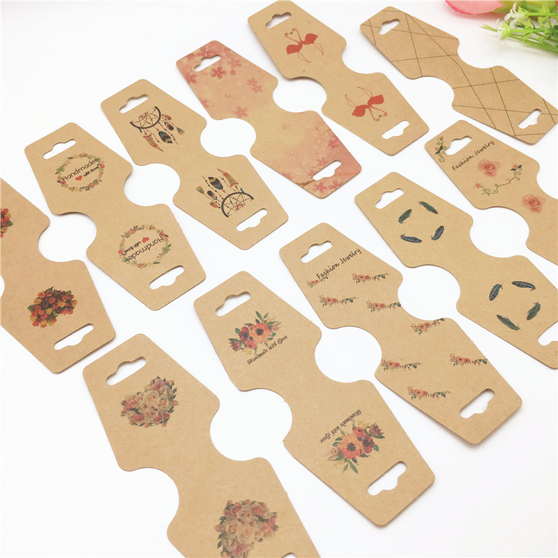100 Pcs New Arrivals 12*4.5cm Kraft Paper Necklace Packing Cards Jewelry Bracelet Displays Cards Paper Hand Chain/Necklace Cards