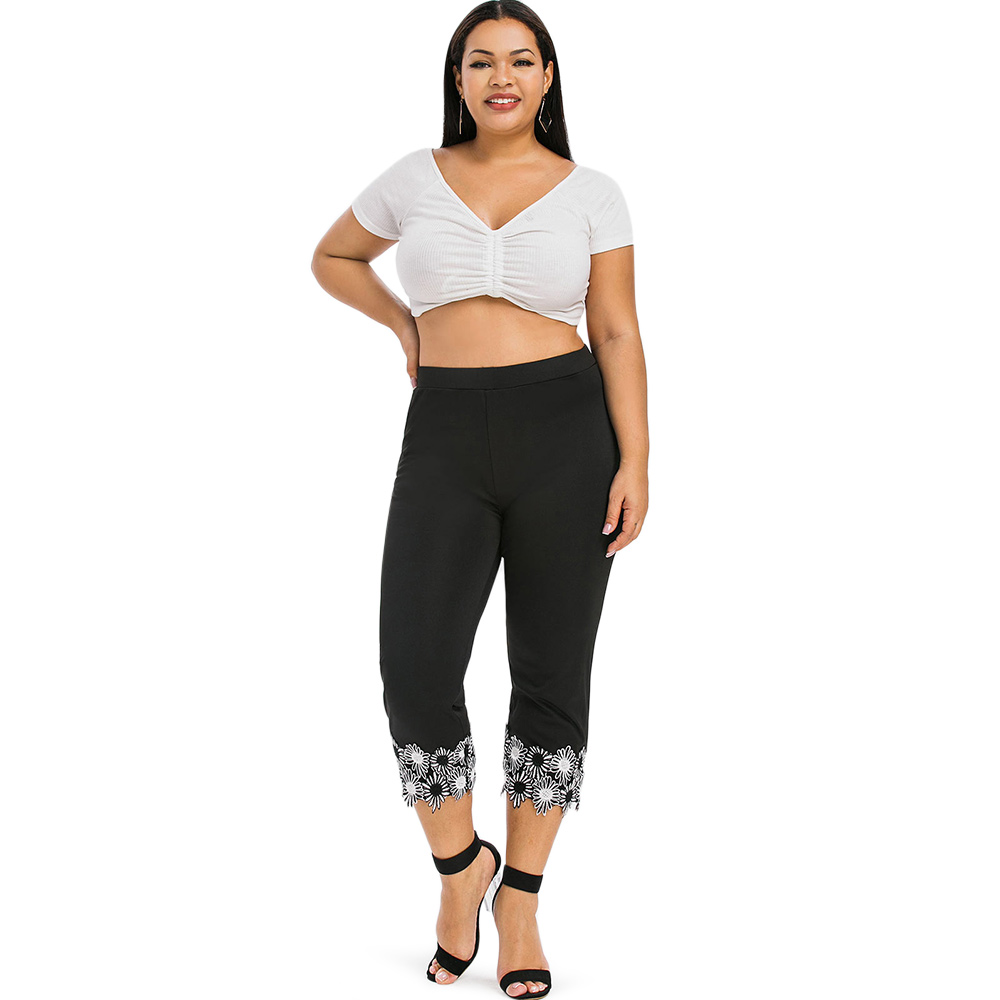 ROSE GAL 5xl Plus Size Women Leggings Fitness Leggins Capri Women Legins Summer Big Size Lady Mid Calf Lace Applique Capri Pants in Leggings from Women 39 s Clothing