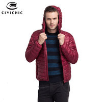 CIVICHIC Man Autumn Winter Ultra Light Down Jacket Male Hooded Plus Size Soft Eiderdown Outerwear Solid