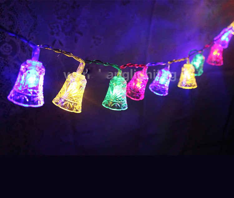 8M 50 LED small bell string light Wedding party decoration Christmas for home Battery Operated Garland Xmas decorative lights