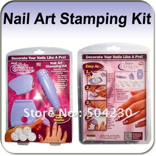 New Salon Express Nail Art Kit Stamping Set Tv Hot S Image Plate Stamper