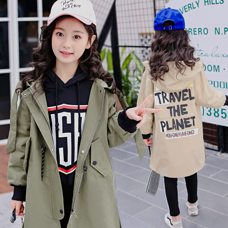 2018 Autumn Girls Windbreaker Letter Print Loose Jackets Khaki Trench Coat Teenage Girls Clothing letter print knot front top