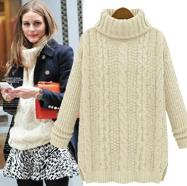 Mode hiver 2016 nouveaux chaude pull femme pull femmes Vintage pulls manches longues laine o - cou chandails tricotés surdimensionnés