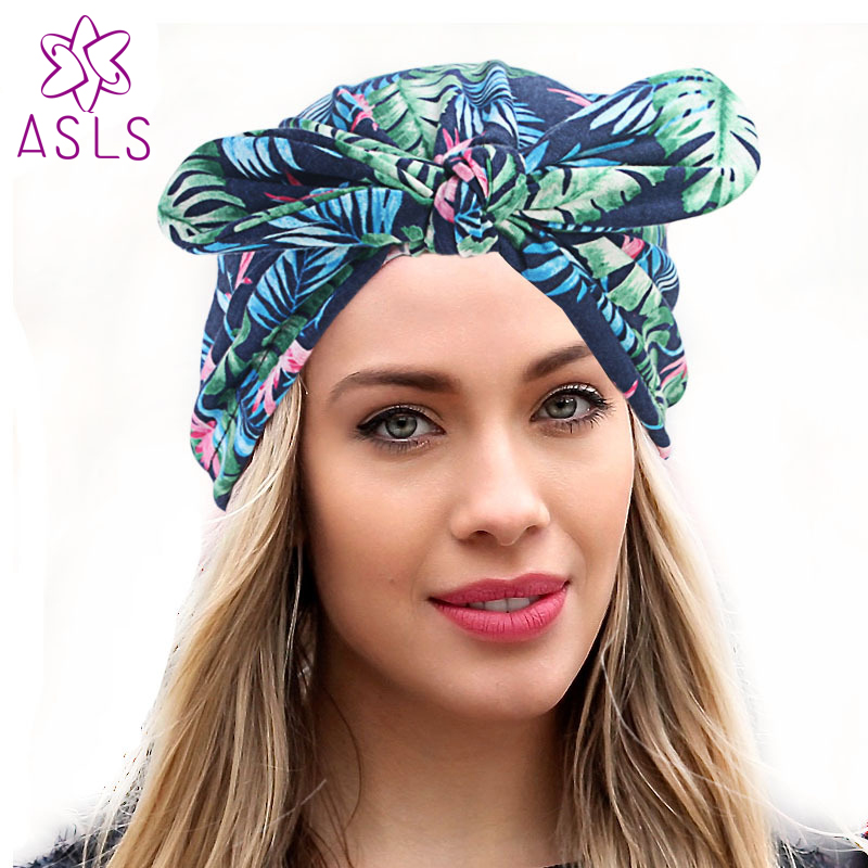b75e271cf91 New rabbit ear beanie headband vintage Bow Stretchy Turban Hat Chemo Hat  soft knotted turban Beanie Cap Turbante for women-in Women s Hair  Accessories from ...