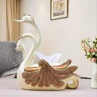 Tissue Box Home Living Room Desktop Multifunctional Tissue Box Continental Decoration Swan Decoration Paper box