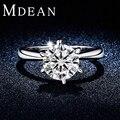 MDEAN Rodada Banhado A Ouro Branco anéis de noivado de Casamento Anéis Para As Mulheres AAA CZ Diamante mulheres jewelryAccessories Bijuteria MSR318
