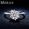 MDEAN Ronda Oro Blanco Plateó Los Anillos de Bodas Para Las Mujeres AAA CZ Diamond mujeres anillos de compromiso Bijouterie jewelryAccessories MSR318